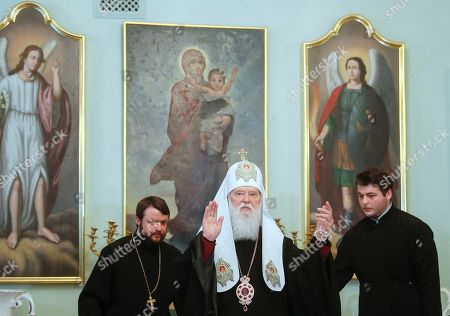 Honorable Patriarch of the Orthodox Church of Ukraine Filaret (C) blesses journalists during his press conference in Kiev, Ukraine, 15 May 2019. Patriarch Filaret admits intentions to resume operations of the Ukrainian Orthodox Church of Kiev?s Patriarchate despite the creation of a new Orthodox Church of Ukraine (OCU) greenlighted by Constantinople.