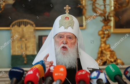 Honorable Patriarch of the Orthodox Church of Ukraine Filaret speaks to journalists during his press conference in Kiev, Ukraine, 15 May 2019. Patriarch Filaret admits intentions to resume operations of the Ukrainian Orthodox Church of Kiev?s Patriarchate despite the creation of a new Orthodox Church of Ukraine (OCU) greenlighted by Constantinople.