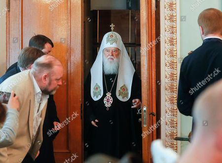 Honorable Patriarch of the Orthodox Church of Ukraine Filaret (C) arrives to his press conference in Kiev, Ukraine, 15 May 2019. Patriarch Filaret admits intentions to resume operations of the Ukrainian Orthodox Church of Kiev?s Patriarchate despite the creation of a new Orthodox Church of Ukraine (OCU) greenlighted by Constantinople.