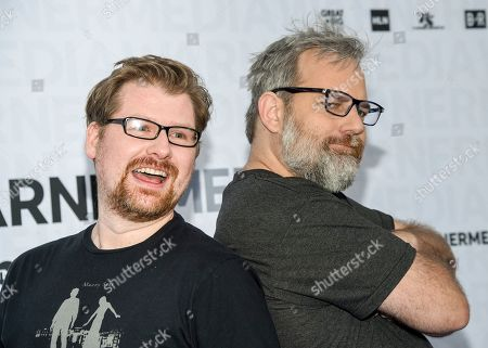 "Justin Roiland, Dan Harmon. Rick and Morty"" co-creators Justin Roiland, left, and Dan Harmon attend the WarnerMedia Upfront at Madison Square Garden, in New York"