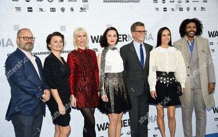 """Graeme Manson, Alison Wright, Lena Hall, Jennifer Connelly, Daveed Diggs. Snowpiercer"""" cast members, from left, Graeme Manson, Alison Wright, Lena Hall, Jennifer Connelly and Daveed Diggs attend the WarnerMedia Upfront at Madison Square Garden, in New York"""