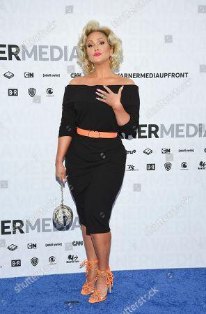 Jenn Lyon attends the WarnerMedia Upfront at Madison Square Garden, in New York