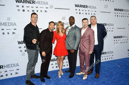 "Gabriel Hogan, Eugene Cordero, Hassie Harrison, Marcus Henderson, Steve Lemme, Kevin Heffernan. Tacoma FD"" cast members, from left, Gabriel Hogan, Eugene Cordero, Hassie Harrison, Marcus Henderson, Steve Lemme and Kevin Heffernan pose together at the WarnerMedia Upfront at Madison Square Garden, in New York"