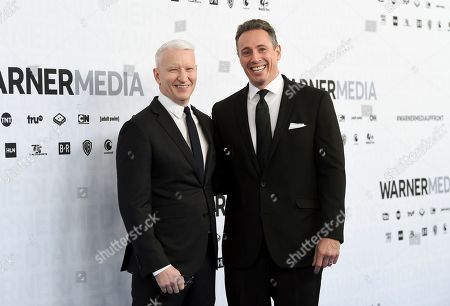 Anderson Cooper, Chris Cuomo. CNN news anchors Anderson Cooper, left, and Chris Cuomo attend the WarnerMedia Upfront at Madison Square Garden, in New York