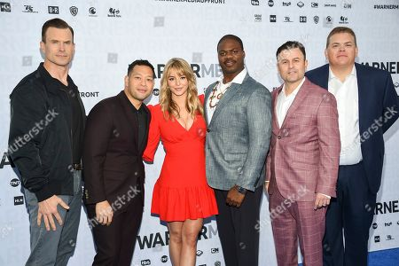 """Stock Image of Gabriel Hogan, Eugene Cordero, Hassie Harrison, Marcus Henderson, Steve Lemme, Kevin Heffernan. Tacoma FD"""" cast members, from left, Gabriel Hogan, Eugene Cordero, Hassie Harrison, Marcus Henderson, Steve Lemme and Kevin Heffernan pose together at the WarnerMedia Upfront at Madison Square Garden, in New York"""