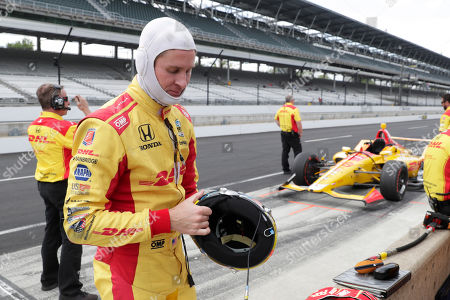 Ryan Hunter-Reay prepares to drive during practice for the Indianapolis 500 IndyCar auto race at Indianapolis Motor Speedway, in Indianapolis