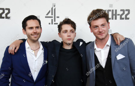 Martin Delaney, Gerran Howell and Josh Bolt arrive for the premiere of 'Catch 22' in London, Britain, 15 May 2019. Produced and directed by George Clooney, the TV adaptation of the classic satirical novel Catch-22 is set to air in 2019.