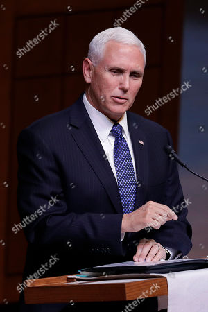 """Stock Image of Vice President Mike Pence speaks during a funeral service for Sen. Richard Lugar, in Indianapolis. Lugar was a longtime Republican senator and former Indianapolis mayor who's been hailed as an """"American statesman"""" since he died April 28 at age 87"""