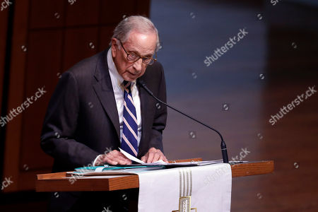 """Stock Photo of Former Sen. Sam Nunn speaks during a funeral service for Sen. Richard Lugar, in Indianapolis. Lugar was a longtime Republican senator and former Indianapolis mayor who's been hailed as an """"American statesman"""" since he died April 28 at age 87"""