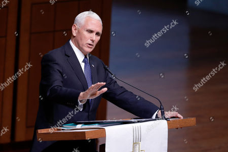 """Vice President Mike Pence speaks during a funeral service for Sen. Richard Lugar, in Indianapolis. Lugar was a longtime Republican senator and former Indianapolis mayor who's been hailed as an """"American statesman"""" since he died April 28 at age 87"""