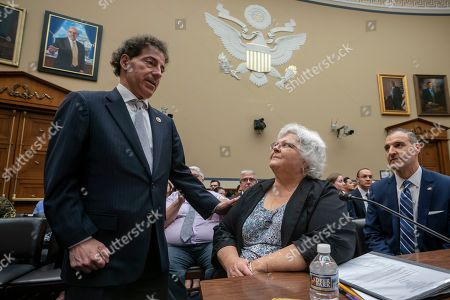 Susan Bro, Jamie Raskin, George Selim. Susan Bro, center, mother of slain Charlottesville protester Heather Heyer, is greeted by Rep. Jamie Raskin, D-Md., left, chairman of the House Oversight Subcommittee on Civil Rights and Civil Liberties, as she prepares to testify at a hearing on how to combat white supremacist hate crimes and domestic terror, on Capitol Hill in Washington, . At right is witness George Selim of the Anti-Defamation League