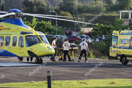 Former Portugal?s Prime Minister and president of the Alianca party Pedro Santana Lopes arrives by helicopter from INEM to the Hospital of the University of Coimbra, after having suffered a traffic accident at kilometer 136 of highway 1 (A1), towards Coimbra-Lisbon, Coimbra, Portugal, 15 May 2019. The third day of the European election campaign in Portugal was marked by the road accident suffered by Alianca leader Pedro Santana Lopes and the head of the list Paulo Sande, on the A1 highway in the Leiria area.