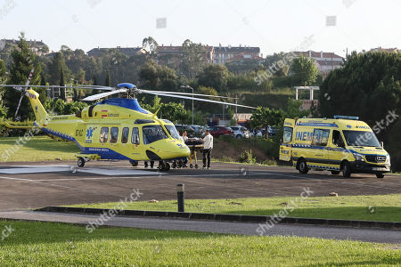 Stock Picture of Former Portugal?s Prime Minister and president of the Alianca party Pedro Santana Lopes arrives by helicopter from INEM to the Hospital of the University of Coimbra, after having suffered a traffic accident at kilometer 136 of highway 1 (A1), towards Coimbra-Lisbon, Coimbra, Portugal, 15 May 2019. The third day of the European election campaign in Portugal was marked by the road accident suffered by Alianca leader Pedro Santana Lopes and the head of the list Paulo Sande, on the A1 highway in the Leiria area.
