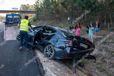 Wreckage of the car of former Portugal's Prime Minister and president of the Alianca party Pedro Santana Lopes and the head of the list Paulo Sande, after suffering a loss at kilometer 136 of Highway 1 (A1), towards Coimbra-Lisbon, Leiria, Portugal, 15 May 2019. The third day of the European election campaign in Portugal was marked by the road accident suffered by Alianca leader Pedro Santana Lopes and the head of the list Paulo Sande, on the A1 highway in the Leiria area.