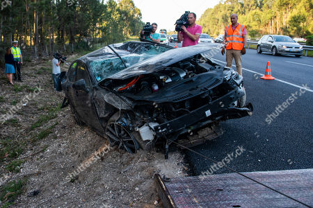 Stock Photo of Wreckage of the car of former Portugal's Prime Minister and president of the Alianca party Pedro Santana Lopes and the head of the list Paulo Sande, after suffering a loss at kilometer 136 of Highway 1 (A1), towards Coimbra-Lisbon, Leiria, Portugal, 15 May 2019. The third day of the European election campaign in Portugal was marked by the road accident suffered by Alianca leader Pedro Santana Lopes and the head of the list Paulo Sande, on the A1 highway in the Leiria area.