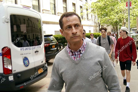 Stock Photo of In this image made from video, disgraced ex-Congressman Anthony Weiner leaves a federal courthouse where the Probation Department is located, in New York, . Weiner visited his probation officer a day after leaving a halfway house at the conclusion of a 21-month prison sentence for his illegal internet contact with a 15-year-old girl