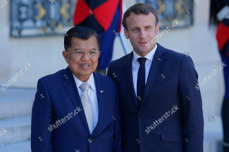 Jusuf Kalla, Vice president of Indonesia and Emmanuel Macron, President of France