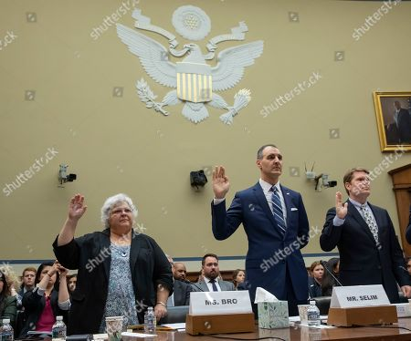 Susan Bro (L), mother of slain Charlottesville, Virginia protester Heather Heyer, George Selim (C) of the Anti-Defamation League and Michael German (R), of the Brennan Center for Justice, are sworn in during a hearing of the House Oversight and Reform Committee, Civil Rights and Civil Liberties Subcommittee in the Rayburn House Office Building at the US Capitol in Washington, DC, USA, 15 May 2019. Bro testified about the death of her daughter in August 2017, for the hearing 'Confronting White Supremacy: The Consequences of Inaction.'