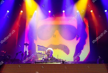 Italian singer, songwriter, DJ and record producer Giorgio Moroder (C) performs during 'The Celebration of the '80s Tour' concert in Papp Laszlo Budapest Sports Arena, in Budapest, Hungary, 15 May 2019.