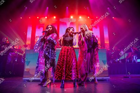 Singers perform with Italian singer, songwriter, DJ and record producer Giorgio Moroder (unseen) during 'The Celebration of the '80s Tour' concert in Papp Laszlo Budapest Sports Arena, in Budapest, Hungary, 15 May 2019.