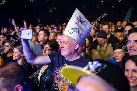 Fans enjoy the 'The Celebration of the '80s Tour' concert of Italian singer, songwriter, DJ and record producer Giorgio Moroder (unseen) in Papp Laszlo Budapest Sports Arena, in Budapest, Hungary, 15 May 2019.