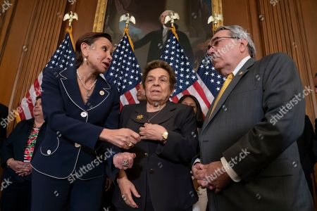 Donna Shalala, G. K. Butterfield, Nydia Velazquez. From left, Rep. Nydia Velazquez, D-N.Y., Rep. Donna Shalala, D-Fla., and Rep. G. K. Butterfield, D-N.C., speak as they attend a Democratic event ahead of a House floor vote on the Health Care and Prescription Drug Package, at the Capitol in Washington