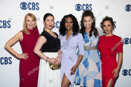 "Marg Helgenberger, Lindsay Mendez, Jessica Camacho, Ruthie Ann Miles, Simone Missick. The cast of ""All Rise,"" from left, Marg Helgenberger, Ruthie Ann Miles, Simone Missick, Lindsay Mendez and Jessica Camacho attend the CBS 2019 upfront at The Plaza, in New York"