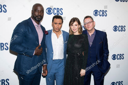 """Mike Colter, Aasif Mandvi, Katja Herbers, Michael Emerson. The cast of """"Evil,"""" from left, Mike Colter, Aasif Mandvi, Katja Herbers and Michael Emerson attend the CBS 2019 upfront at The Plaza, in New York"""