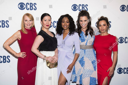 "Marg Helgenberger, Ruthie Ann Miles, Simone Missick, Lindsay Mendez, Jessica Camacho. The cast of ""All Rise,"" from left, Marg Helgenberger, Ruthie Ann Miles, Simone Missick, Lindsay Mendez and Jessica Camacho attend the CBS 2019 upfront at The Plaza, in New York"