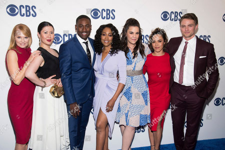 "Marg Helgenberger, Ruthie Ann Miles, Simone Missick, Lindsay Mendez, Jessica Camacho, Wilson Bethel, J. Alex Brinson. The cast of ""All Rise,"" from left, Marg Helgenberger, Ruthie Ann Miles, J. Alex Brinson, Simone Missick, Lindsay Mendez, Jessica Camacho and Wilson Bethel attend the CBS 2019 upfront at The Plaza, in New York"