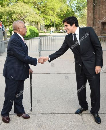Henry Louis Gates Jr., David Copperfield. Henry Louis Gates Jr., left, greets magician David Copperfield at the Statue of Liberty Museum opening celebration at Battery Park, in New York