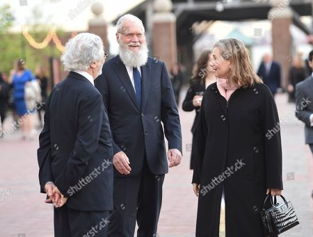 David Letterman, Regina Lasko. Talk show host David Letterman, center, and wife Regina Lasko attend the Statue of Liberty Museum opening celebration at Battery Park, in New York