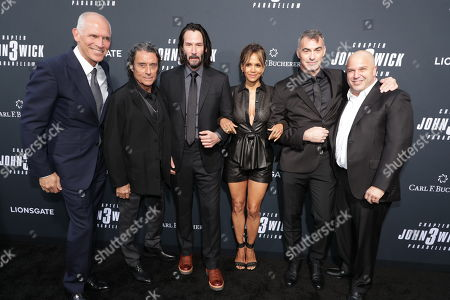 Stock Photo of Joe Drake, Co-Chair, Lionsgate Motion Picture Group, Ian McShane, Keanu Reeves, Halle Berry, Chad Stahelski, Director/Executive Producer, Nathan Kahane, President of Motion Pictures, Lionsgate,