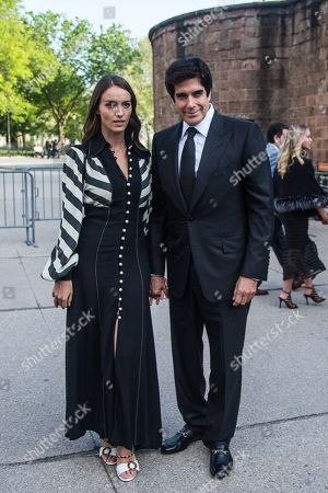 French designer Chloe Gosselin (L) and her partner US magician David Copperfield (R) arrive to the opening celebration of the Statue of Liberty Museum on Liberty Island at the Statue Cruises Terminal in Battery Park in New York, New York, USA, 15 May 2019.