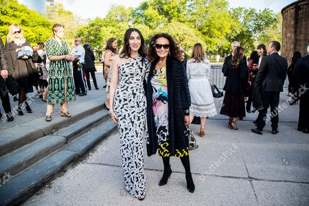 French artist Anh Duong (C-L) and Belgian-American fashion designer Diane von Furstenberg (C-R) arrive at the Statue Of Liberty Museum Opening Celebration at Battery Park Terminal in New York, New York, USA, 15 May 2019.