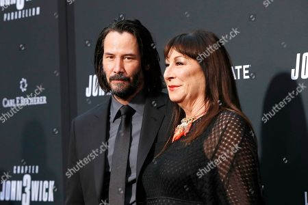 Keanu Reeves (L) and US actor Anjelica Huston (R) arrivie for the premiere of Lionsgate's John Wick: Chapter 3 - Parabellum at the TCL Chinese Theatre IMAX in Hollywood, Los Angeles, California, USA, 15 May 2019. The movie opens in the US on 17 May 2019.