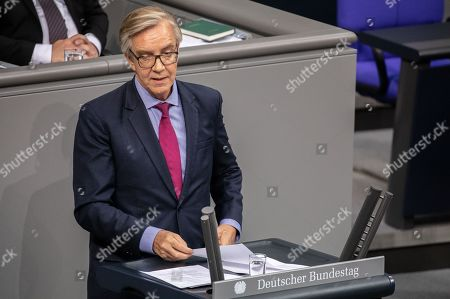 Stock Photo of The Left party faction leader Dietmar Bartsch during a special Bundestag debate on the occasion of the 70th anniversary to the German Basic Law (Grundgesetz) in Berlin, Germany, 16 May 2019. The German Basic Law was approved on 08 May 1949 in the Federal Republic of Germany and came into effect on 23 May 1949. With the reunification of Germany it was mildly modified and has been fixed as the current day's German federal constitution.