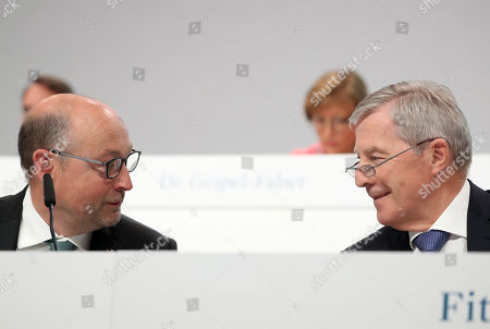 Stock Image of Juergen Fitschen (R), chairman of the supervisory board and Rolf Buch (L), CEO attend the annual general meeting of real estate company Vonovia SE in Bochum, Germany, 16 May 2019.