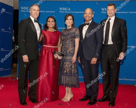NBC News White House correspondents, left to right, Peter Alexander, Kristen Welker, Hallie Jackson, Ron Allen, and Hans Nichols