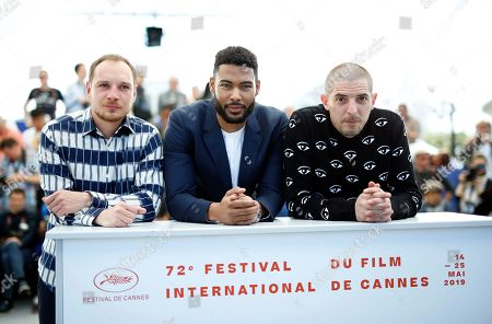 French actors Alexis Manenti, Djebril Zonga and Damien Bonnard pose during the photocall for 'Les Miserables' at the 72nd annual Cannes Film Festival, in Cannes, France, 16 May 2019. The movie is presented in the Official Competition of the festival which runs from 14 to 25 May.