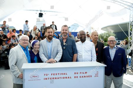 US nurse Cliff Morrison, US nurse Alison Moed, US director Dan Krauss, US nurse Guy Vandenberg, US Steve Williams, Australian actor Keiynan Lonsdale and US TV reporter Hank Plante pose during the photocall for '5B' at the 72nd annual Cannes Film Festival, in Cannes, France, 16X May 2019. The movie is presented in the section Special Screenings of the festival which runs from 14 to 25 May.