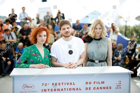 Russian actress Vasilisa Perelygina, Russian director Kantemir Balagov and Russian actress Victoria Miroshnichenko pose during the photocall for 'Beanpole' at the 72nd annual Cannes Film Festival, in Cannes, France, 16 May 2019. The movie is presented in the section Un Certain Regard of the festival which runs from 14 to 25 May.
