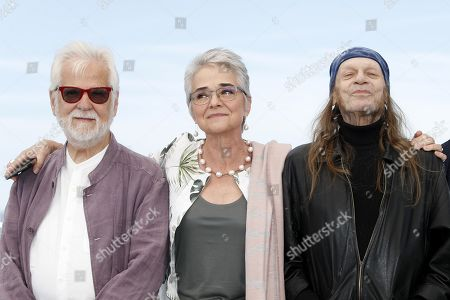 Germano-US producer Jan Harlan (L), British actor Leon Vitali (R) and Christiane Kubrick's daughter, Katharina Kubrick (C) pose during the photocall for 'The Shining' at the 72nd annual Cannes Film Festival, in Cannes, France, 16 May 2019. The movie is presented in the section Cannes Classics of the festival which runs from 14 to 25 May.