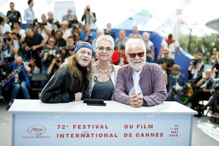 British actor Leon Vitali, Christiane Kubrick's daughter, German Katharina Kubrick and US-German producer Jan Harlan pose during the photocall for 'The Shining' at the 72nd annual Cannes Film Festival, in Cannes, France, 16 May 2019. The movie is presented in the section Cannes Classics of the festival which runs from 14 to 25 May.