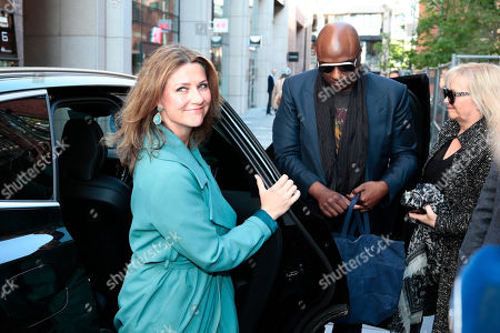 Norwegian Princess Martha Louise (L) and shaman Durek Verrett (C) on their way to attend the morning show 'God Morgen Norge' at the TV2 studio in Oslo, Norway, 16 May 2019. According to media reports, the Norwegian royal announced via social media that she is in a relationship with Verrett, a spiritual adviser from California, USA.