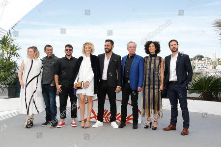 Stock Image of Karine Teles, Brazilian actor Silvero Pereira, Brazilian actor Thardelly Lima, US actress Alli Willow, Brazilian actor Thomas Aquino, German actor Udo Kier, Brazilian actress Barbara Colen and Brazilian actor Antonio Saboia pose during the photocall for 'Bacurau' at the 72nd annual Cannes Film Festival, in Cannes, France, 16 May 2019. The movie is presented in the Official Competition of the festival which runs from 14 to 25 May.