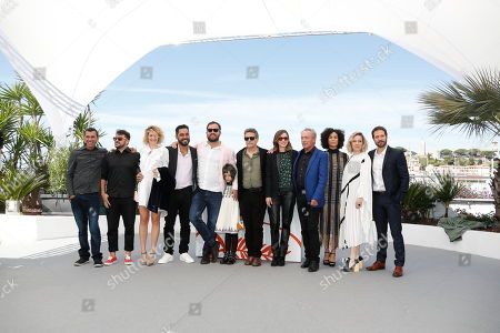 Brazilian actor Silvero Pereira, Brazilian actor Thardelly Lima, US actress Alli Willow, Brazilian actor Thomas Aquino, Brazilian director Juliano Dornelles, Brazilian director Kleber Mendonca Filho, French producer Emilie Lesclaux, German actor Udo Kier, Brazilian actress Barbara Colen, Brazilian actress Karine Teles and Brazilian actor Antonio Saboia pose during the photocall for 'Bacurau' at the 72nd annual Cannes Film Festival, in Cannes, France, 16 May 2019. The movie is presented in the Official Competition of the festival which runs from 14 to 25 May.