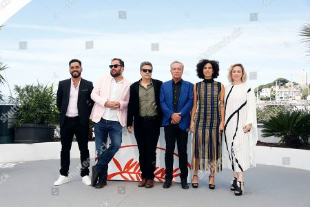 Brazilian actor Thomas Aquino, Brazilian director Juliano Dornelles, Brazilian director Kleber Mendonca Filho, German actor Udo Kier, Brazilian actress Barbara Colen and Brazilian actress Karine Teles pose during the photocall for 'Bacurau' at the 72nd annual Cannes Film Festival, in Cannes, France, 16 May 2019. The movie is presented in the Official Competition of the festival which runs from 14 to 25 May.