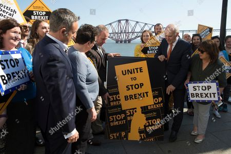 Editorial image of Vince Cable unveils new election poster in South Queensferry, Scotland, UK - 16th May 2019