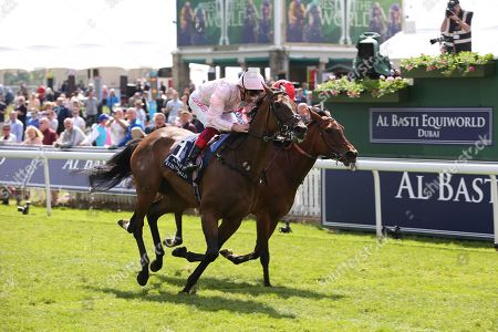 LAH TI DAR (1) ridden by Frankie Dettori, trained by John Gosden and owned by Lord Lloyd Webber winning The Group 2 Al Basti Equiworld Dubai Middleton Fillies Stakes over 1m 2f (£125,000)  during the second day of the Dante Festival at York Racecourse, York